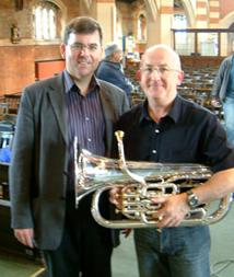 Steve with conductor Howard Evans - 20080617111338.jpg